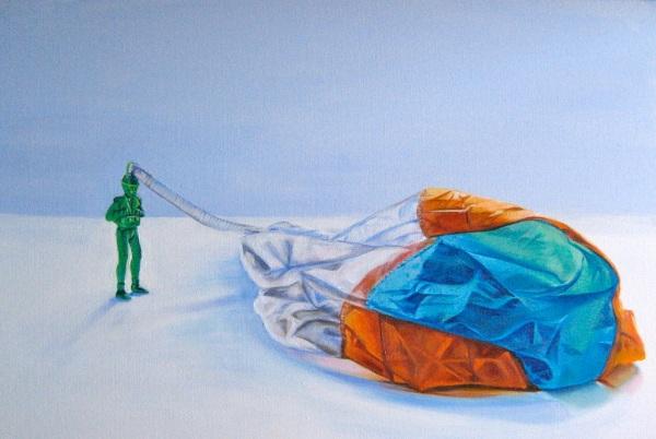 """Parachute Man,"" Acrylic on Canvas, 24 x 36 in."