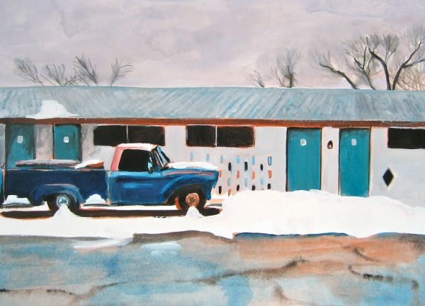 """Old Truck and Motel, Route 66,"" 2012, Gouache on Watercolor Paper, 8 x 11 in."