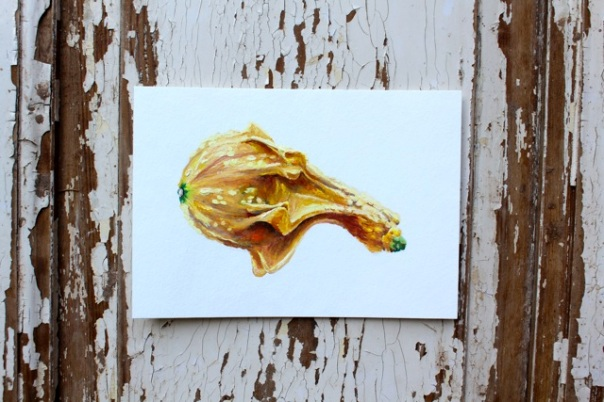 Yellow Gourd, Gouache on Paper, 5 x 7 in.
