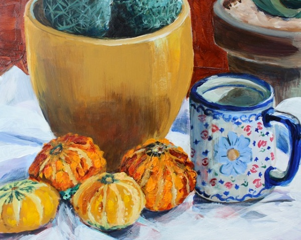 Autumn Gourds, Acrylic on Panel, 8 x 10 in.