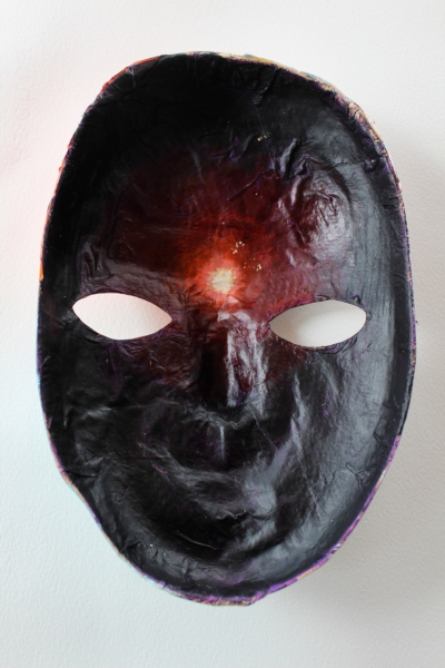 The inside of the mask and a point of light where the third eye is (inspired by my yoga practice).