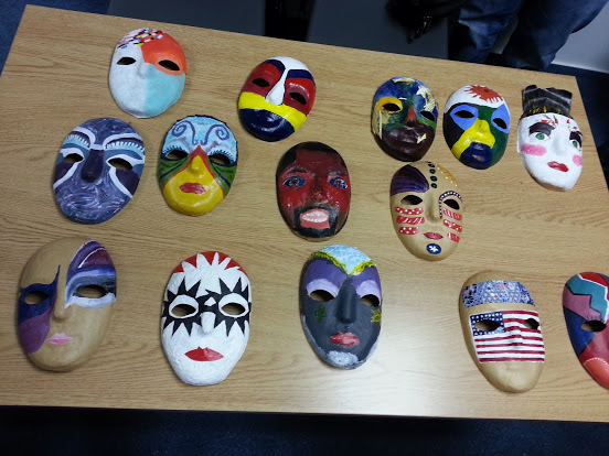 Here are all our masks. Amazing to see all the variety.