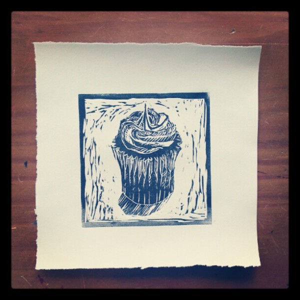 Cupcake, Linocut, 4 x 4 inches.