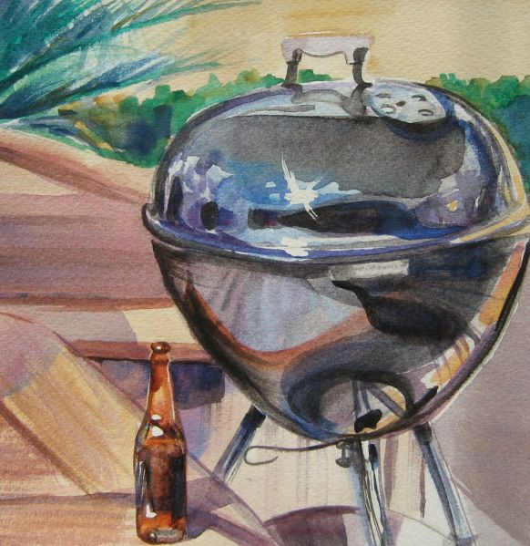 Mike's Charcoal Grill, Watercolor on Paper, 8 x 8 inches.
