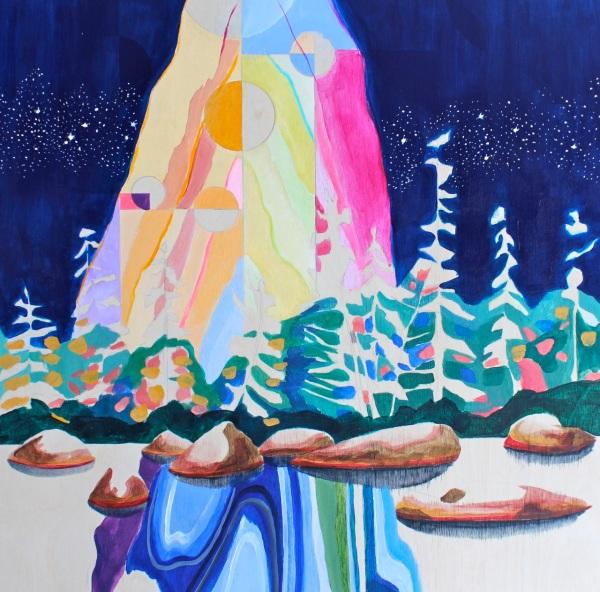 Rabbit Blanket Lake, Acrylic on Panel, 12 x 12 inches