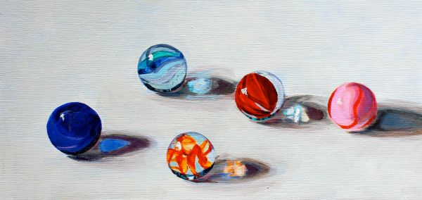 Blue and Red Marbles, Acrylic on Paper, 6 x 12 inches.