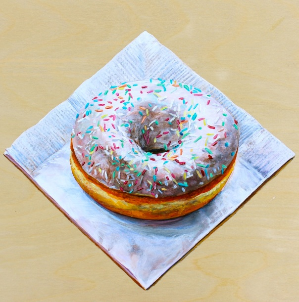 White Doughnut with Sprinkles, Acrylic on Panel, 8 x 8 inches