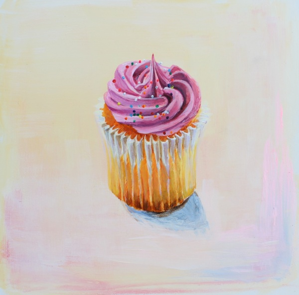 Cupcake with Pink Icing, Acrylic on Gessoed Panel, 6 x 6 inches
