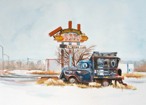 Old Truck with Roadsign, Gouache on Paper