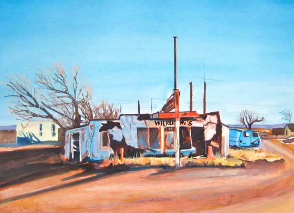 Old Route 66 Gas Station, Gouache on Paper, 8 x 11 inches