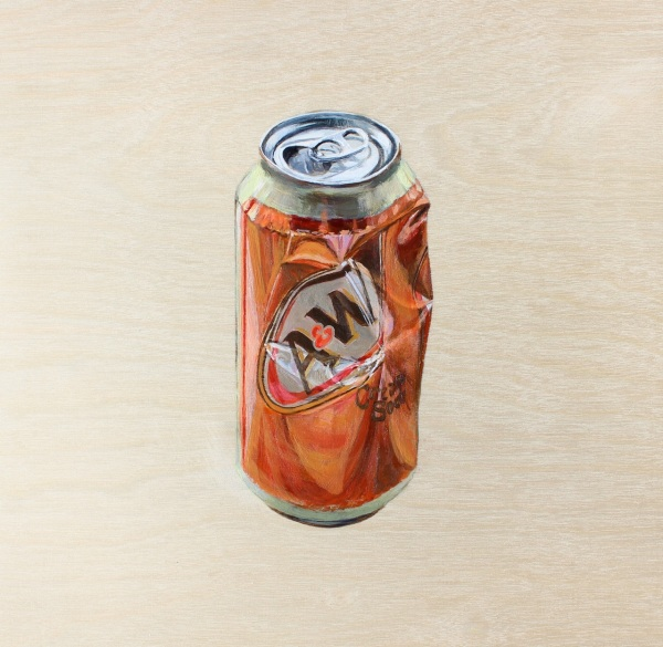 Cream Soda Can, Acrylic on Wood Panel, 10 x 10 inches
