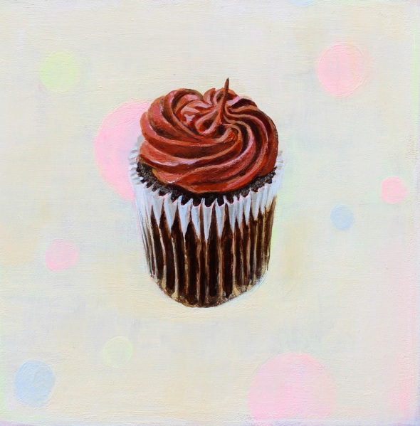 Chocolate Cupcake, Acrylic on Gessoed Masonite, 6 x 6 inches