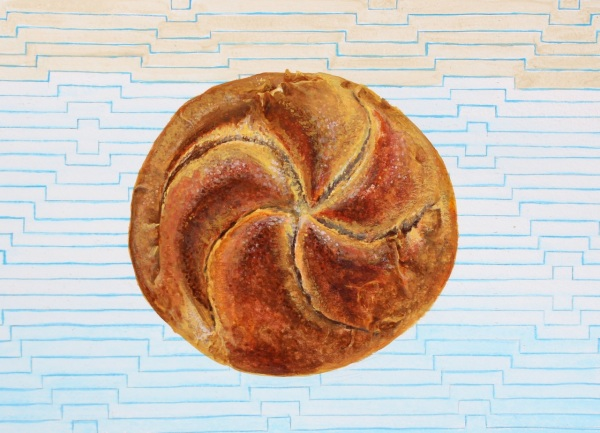 Kaiser Roll, Gouache on Paper, 8 x 5 7/8 inches