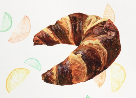 Striped Croissant, Gouache on Paper, 8 x 5 7/8 inches