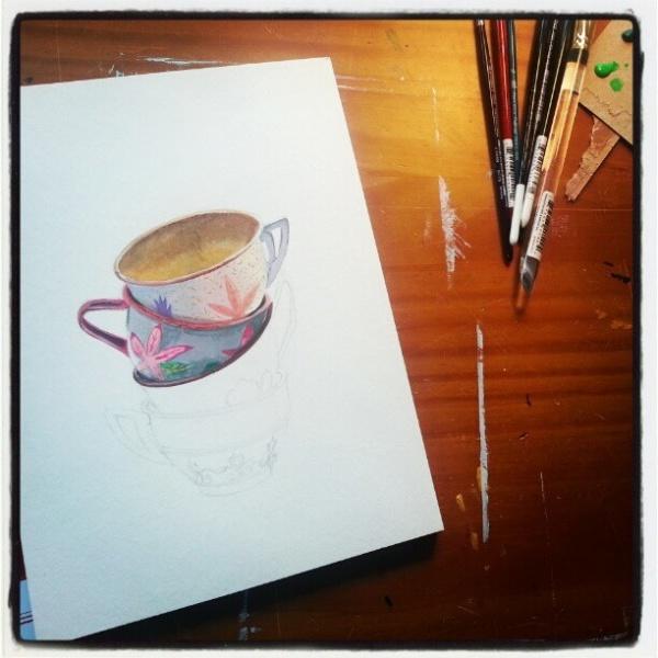 Tea cups, in progress.