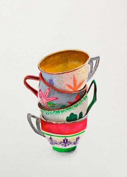 """""""Tin Tea Cups,"""" Gouache, 24 x 17 cm."""