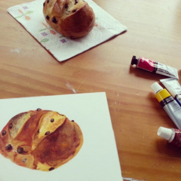 Bread painting in progress.