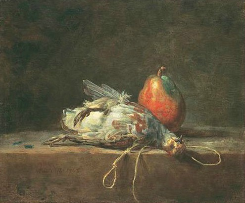 Jean-Baptiste-Siméon Chardin, Still Life with Partridge and Pear, 1748, Oil on Canvas