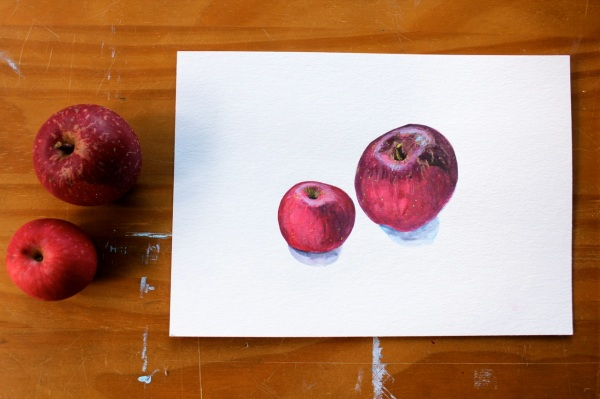 """Apples,"" 2013, Gouache on paper, 24 x 17 cm"
