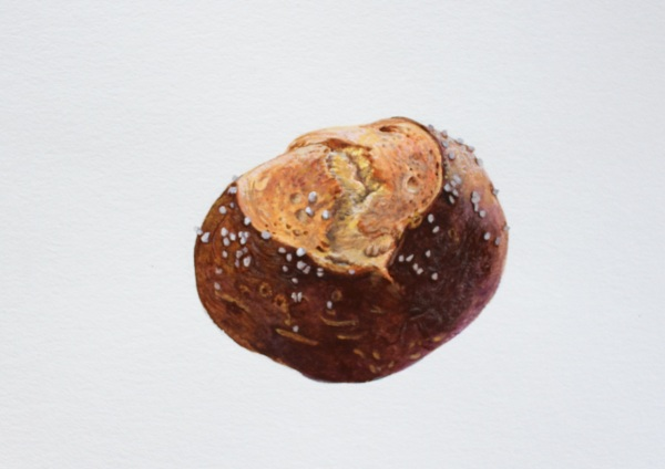 """Laugentbrötchen,"" 2013, Gouache on Paper, 24 x 17 cm"