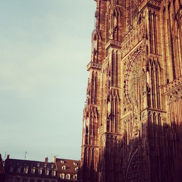 The Strasbourg Cathedral, hit with sunlight.