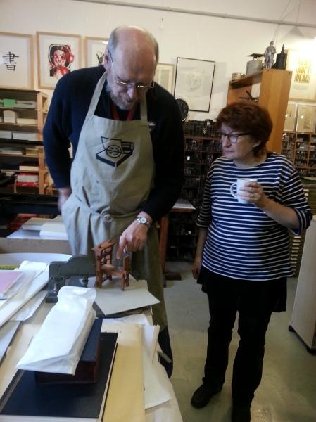 Bernard, showing us a little model of the Gutenberg press.