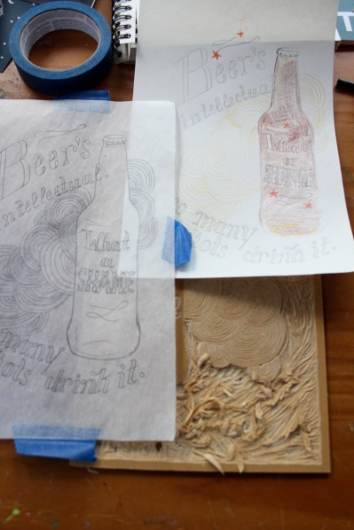 The sketch and the tracing paper I used to create the design.