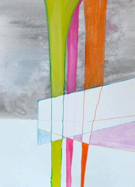 Flatlining, Study No. 1, Watercolor, Gouache, and Ink on Paper
