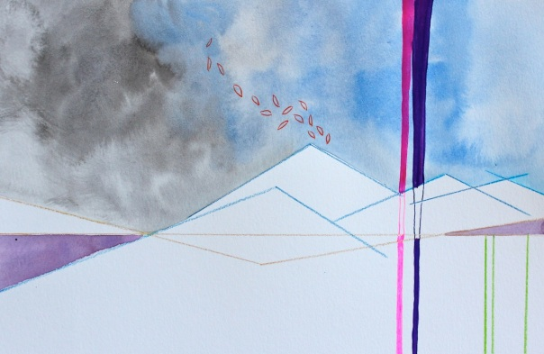 Flatlining, Study no. 2, Watercolor, Watercolor Pencil, and Ink on Paper