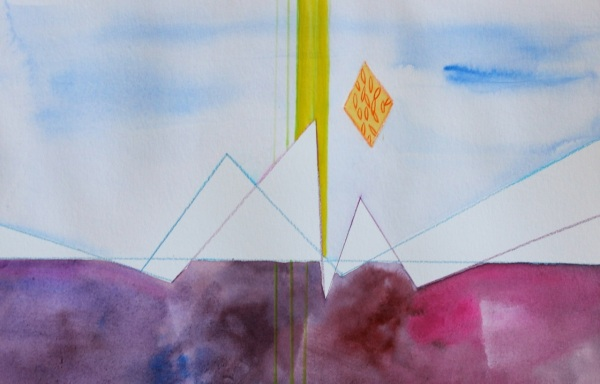 Flatlining, Study No 3, Watercolor, Gouache and Watercolor Pencil on paper