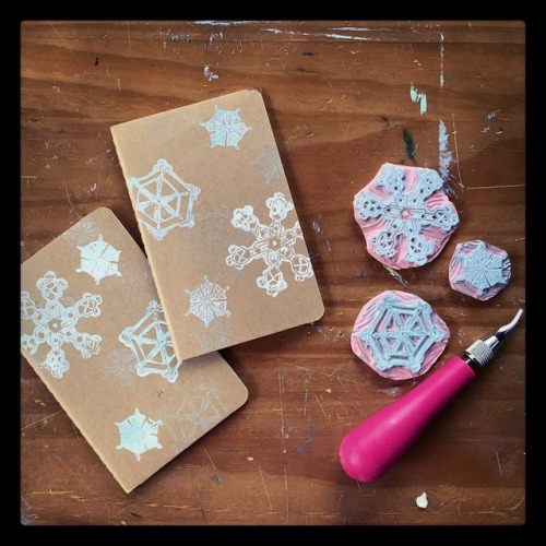 Hand-stamped Moleskine journals.
