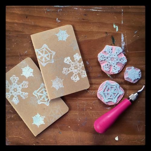 Hand-stamped Moleskine journals.