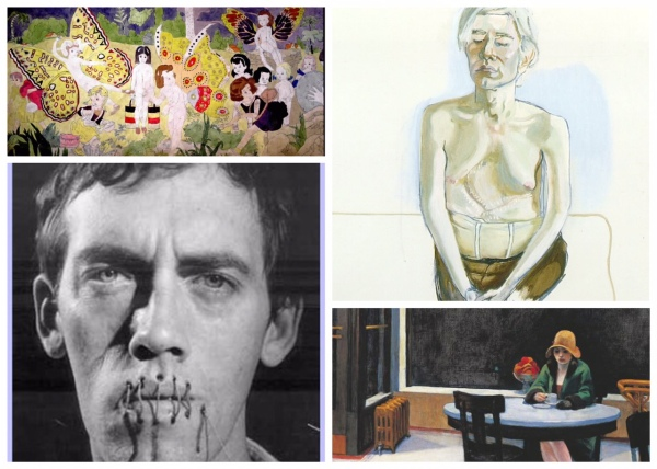 """The Art of Loneliness: (Clockwise from top left) Henry Darger's """"Realsm of the Unreal,"""" Alice Neel's Portrait of Andy Warhol wearing the corset he used after being shot,""""Edward Hopper, David Wojnarowicz"""